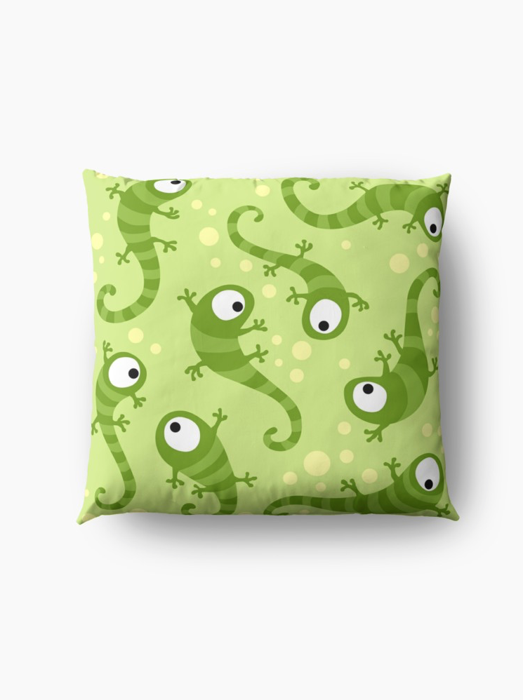 Gecko Pillow by Kameeri on Redbubble